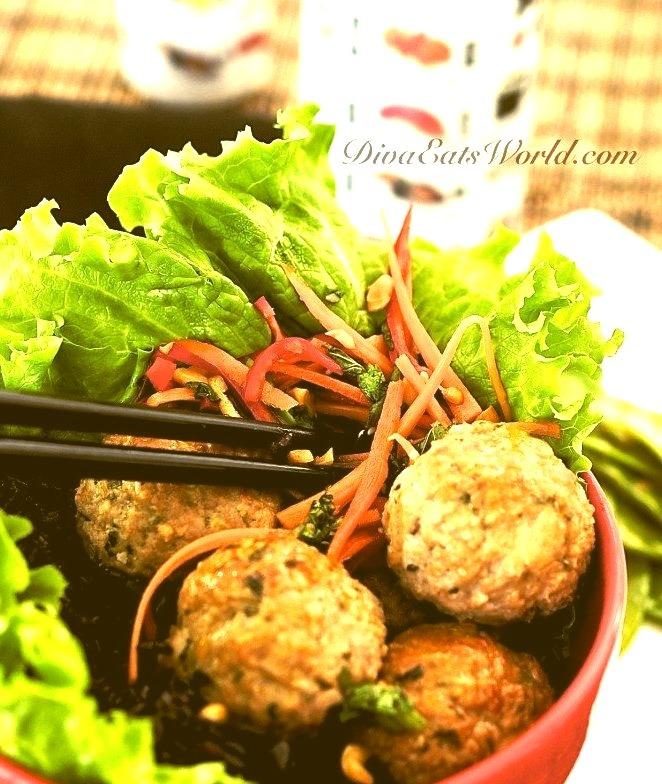 Thai Meatballs w/ Spicy Carrot Slaw & Forbidden Rice