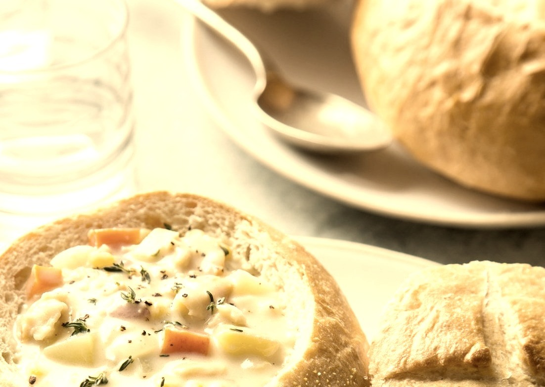 New England Clam Chowder with Sourdough Bread Bowls (Recipe)
